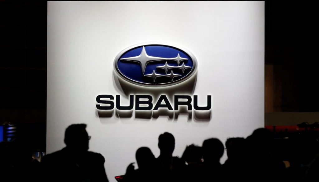The logo of Subaru Corp. is pictured at the 45th Tokyo Motor Show in Tokyo