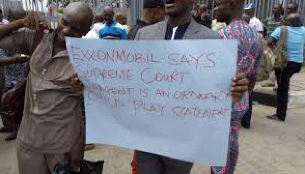 ExxonMobi staff protest sack of colleagues
