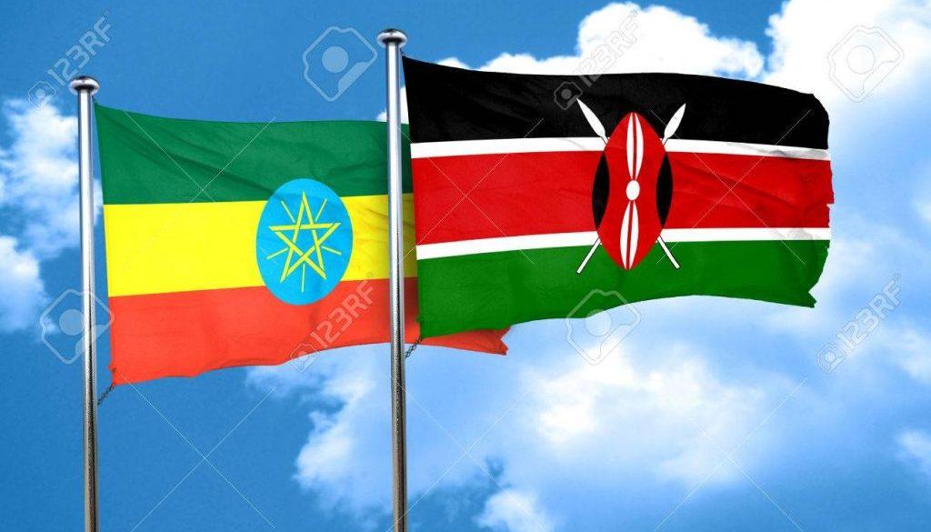 Ethiopia flag with Kenya flag, 3D rendering