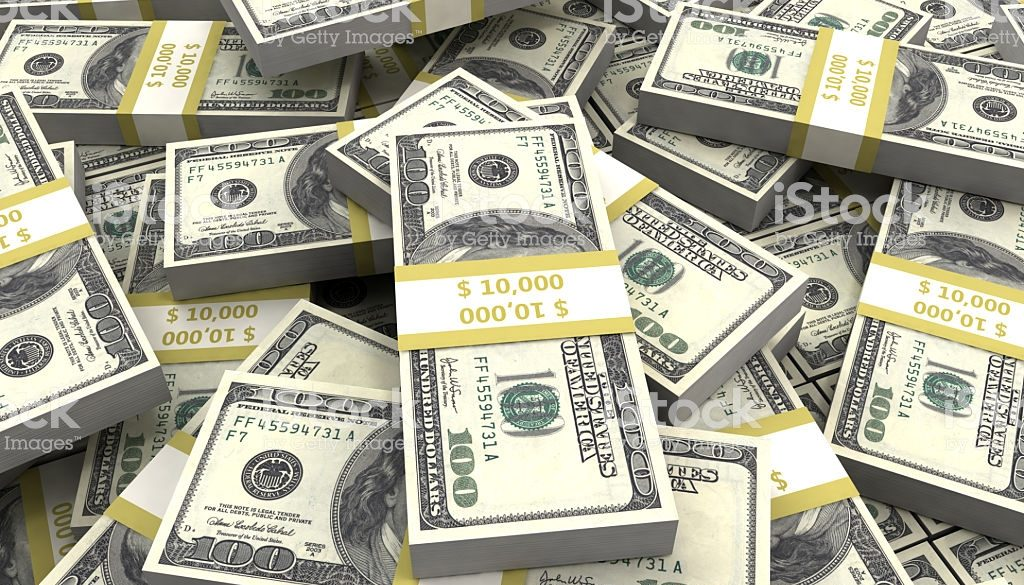 Large bundle of US dollars