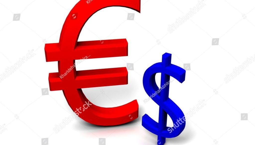 stock-photo--d-strong-euro-against-weak-dollar-45287401