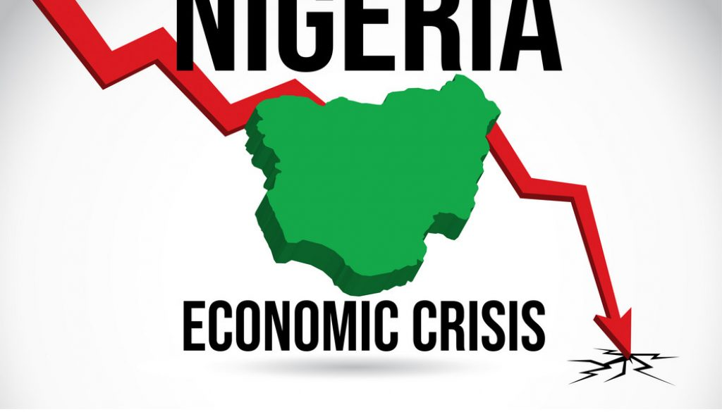 Nigeria Map Financial Crisis Economic Collapse Market Crash Glob